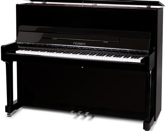 Feurich 122, günstiges Klavier, Feurich Klavier, Klavier schwarz poliert, Klavier-Atelier Burkhard Casper